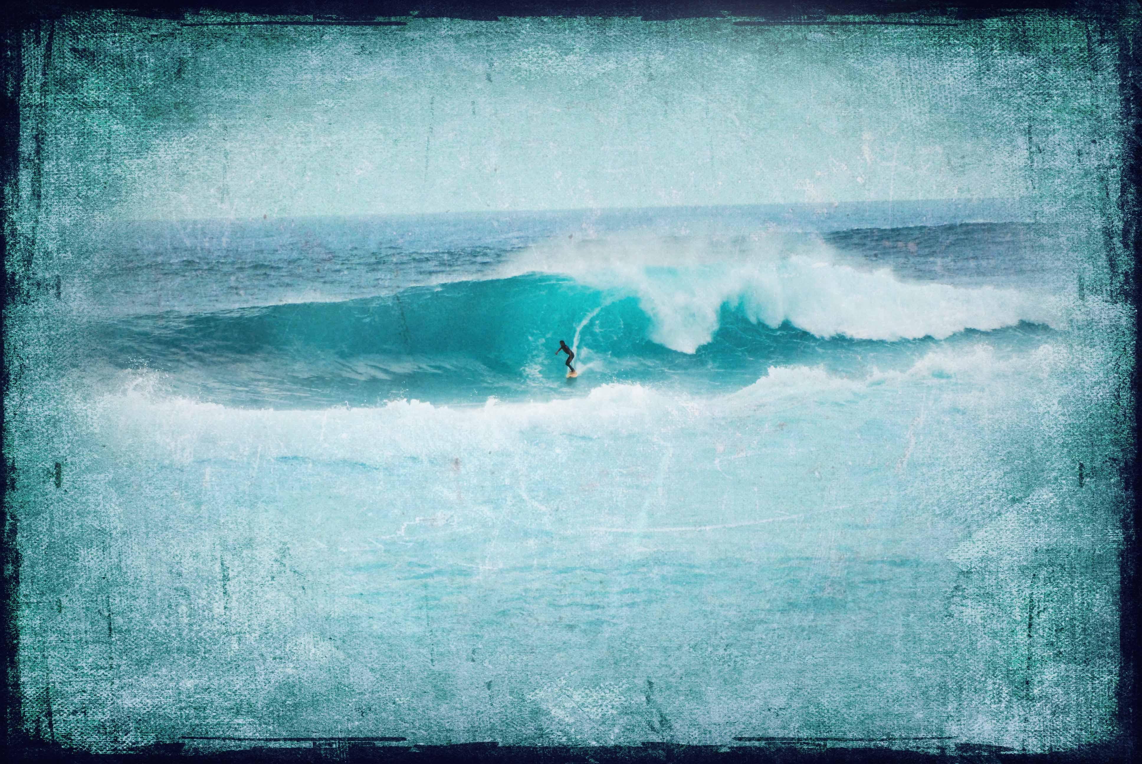 Vintage Surfer print, Teal